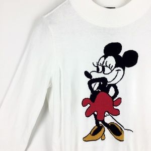 H&M Disney- White Long Sleeve Minnie Mouse Sweater
